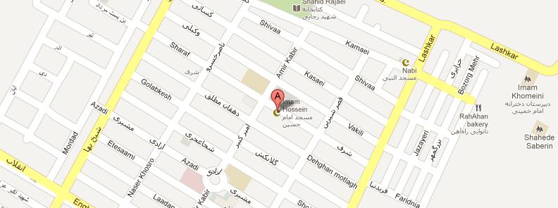 آدرس مسجد امام حسین اهواز در نقشه گوگل